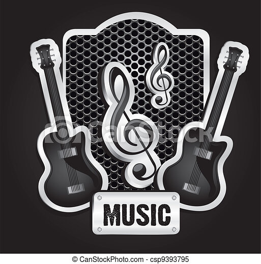 musical metal label  - csp9393795