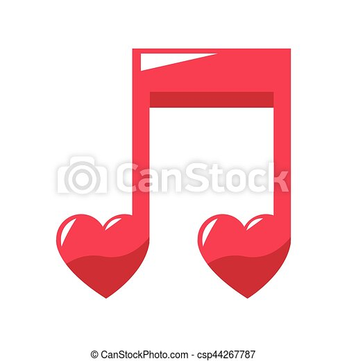 Musical Note Icon Musical Note With Hearts Icons Over White