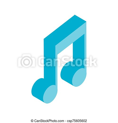 musical note in 3d on white background - csp75605602