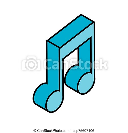 musical note in 3d on white background - csp75607106