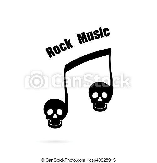 Musical Note Sign And Human Skull Icon Vector Logo Design  Vector