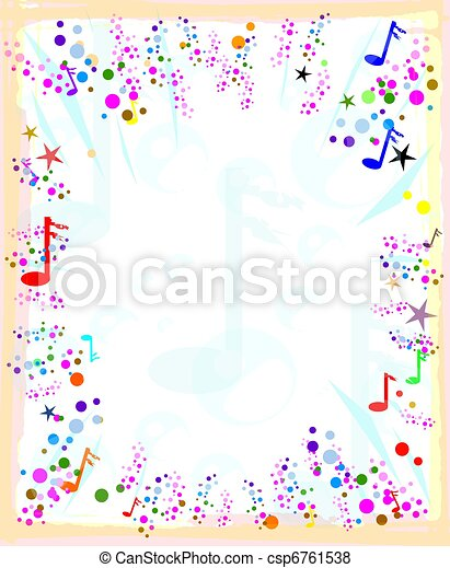 Colorful Musical Note Template For Your Ad Or Message Stock
