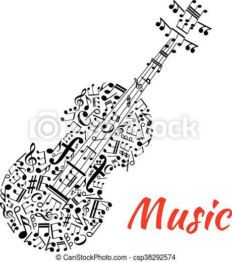 Musical Notes And Symbols Shaped Like A Violin Musical Notation