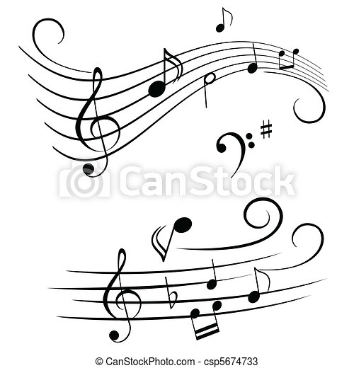 Musical notes on stave - csp5674733