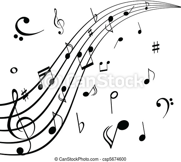 Musical notes on white background for Note musicali dwg