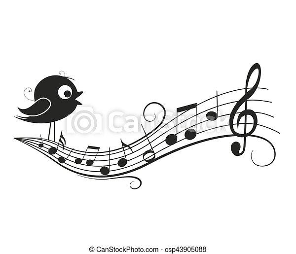 Musical notes with bird - csp43905088