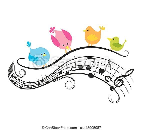 Musical notes with birds - csp43905087
