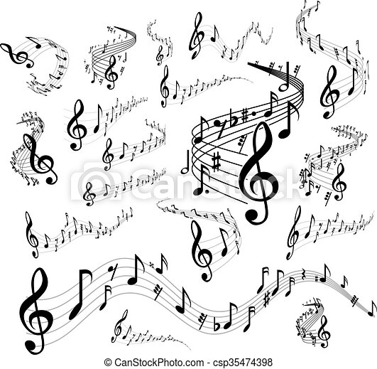 Musical staves on white - csp35474398