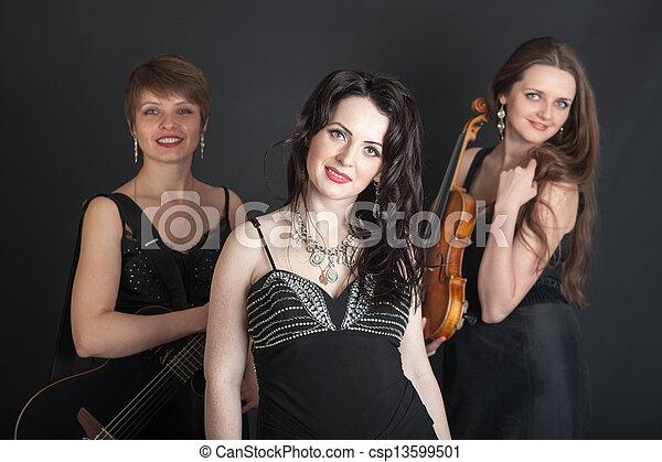 Musical trio portrait - csp13599501