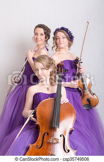musical trio with instruments - csp35749506
