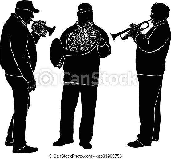 musicians silhouette of jazz musician vector