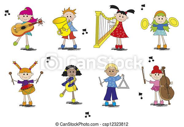 Musicien instrument diff rent type enfants - Dessin musicien ...