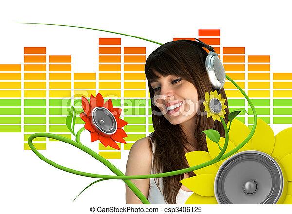 musik, fächer, junger, glücklich - csp3406125