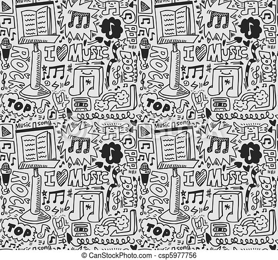 musik, muster, seamless - csp5977756
