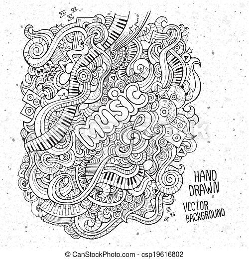 musik, sketchy, notizbuch, doodles. - csp19616802