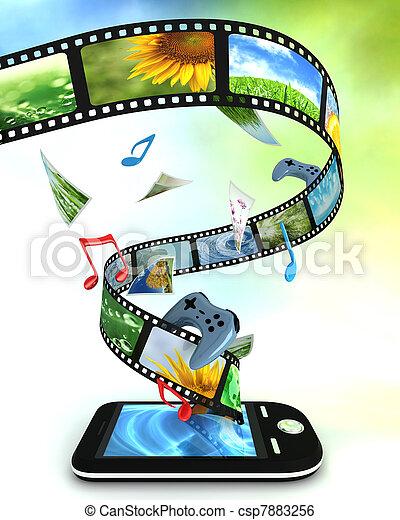musik, smartphone, idræt, fotografier, video - csp7883256