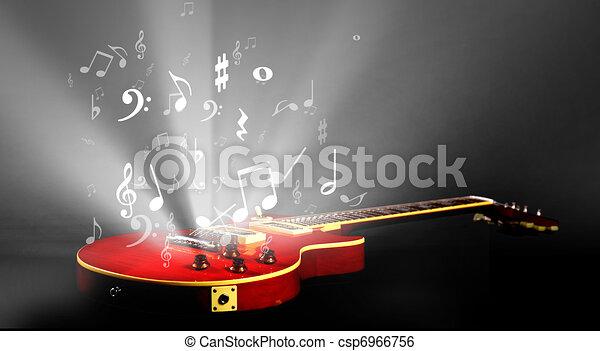 Elektrische Gitarre mit Musiknoten - csp6966756