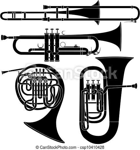 Brass musikalische Instrumente Vektor - csp10410428