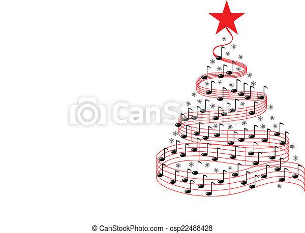 musique, arbre, noël - csp22488428