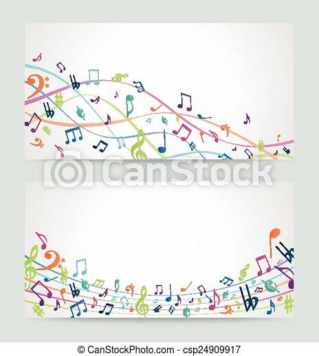 musique, coloré, notes, résumé - csp24909917