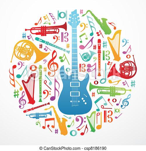 musique, concept, amour, fond, illustration - csp8186190
