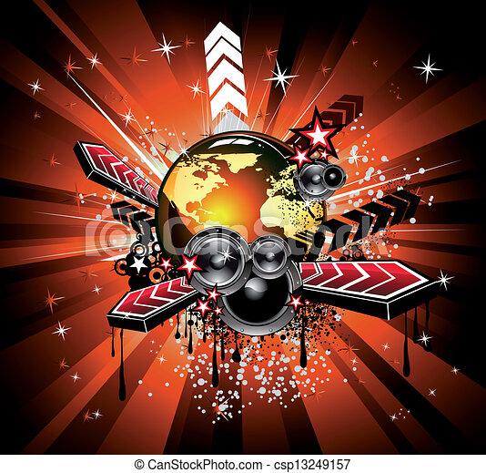musique, fond, arc-en-ciel, disco - csp13249157
