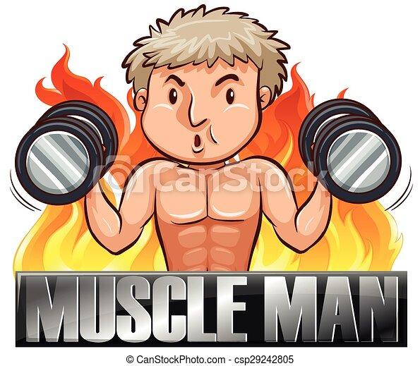 Muskelmann. Texting, heben, gewicht, mann.