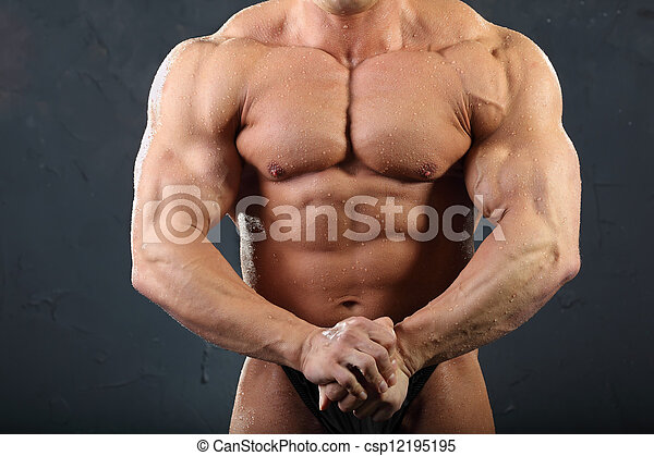 Muskeln, gebräunt, hand, oberkörper, bodybuilder, nasse, starke ...