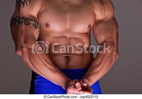 Muskeln, mann. Mann, oberkörper, arme, muskulös.