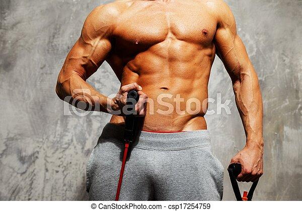 muskulös, übung, koerper, mann, hübsch, fitness - csp17254759