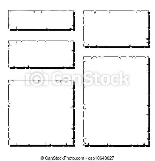 Ein weißer, zerrissener, alter Papierrahmen mit Schatten - csp10643027