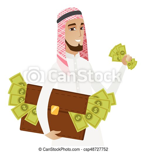 Muslim businessman with briefcase full of money