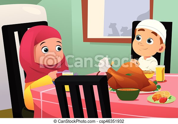 Vectors of Muslim Children Eating At Dining Table A vector