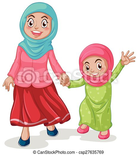 muslim family mother and daughter clip art vector search rh canstockphoto com mother clipart images mother clipart free