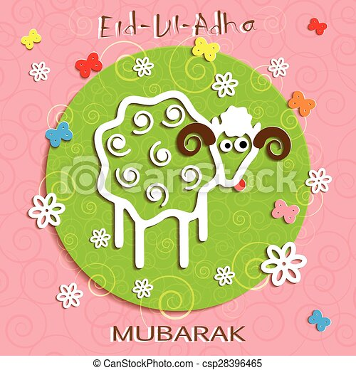 Muslim community festival of sacrifice eid ul adha greeting clip muslim community festival of sacrifice eid ul adha greeting card csp28396465 m4hsunfo