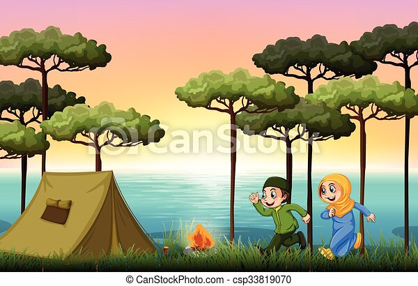 Muslim Couple Camping In The Woods