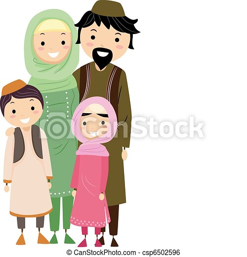 Illustration Of A Muslim Family