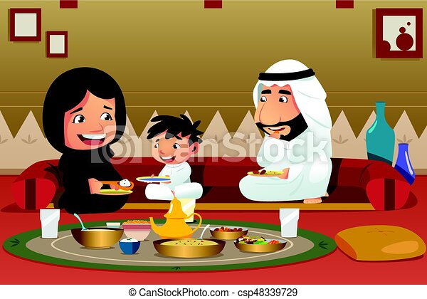 Muslim Family Eating at Home - csp48339729