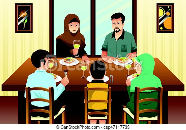 Muslim Family Eating Dinner at Home - csp47117733