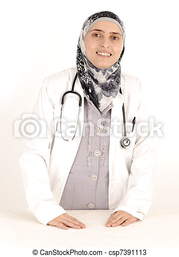 Muslim female doctor in hospital - csp7391113