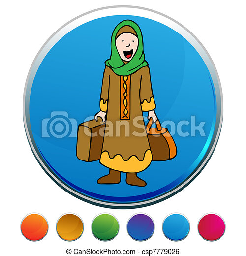 Muslim Girl Traveler Button Set - csp7779026