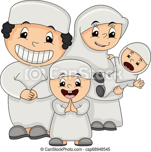 Muslim Happy Family Cartoon Vector Illustration Muslim Happy Family Father Mother Son And Daughter With White Clothes