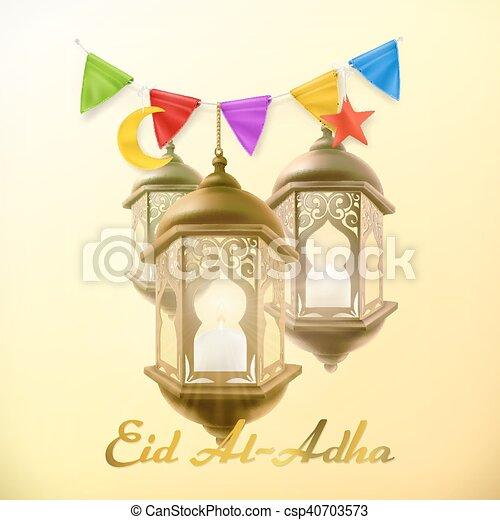 Muslim holiday eid al adha greeting card with lamp islamic culture muslim holiday eid al adha greeting card with lamp islamic culture vector background m4hsunfo