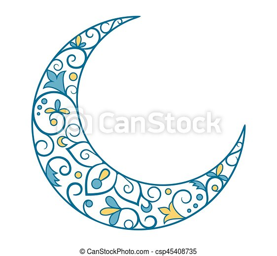 Muslim Holiday Ramadan Kareem Crescent Moon Ornament Icon Sign I