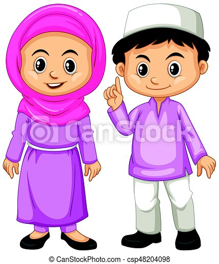 muslim kids in purple outfit illustration eps vectors search clip rh canstockphoto com islamic clip art free download islamic clipart border