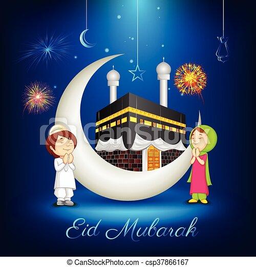 Muslim kids offering namaaz for eid vector illustration of muslim muslim kids offering namaaz for eid csp37866167 m4hsunfo