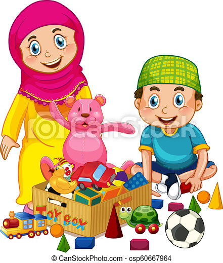 Muslim Kids Playing Toy Illustration