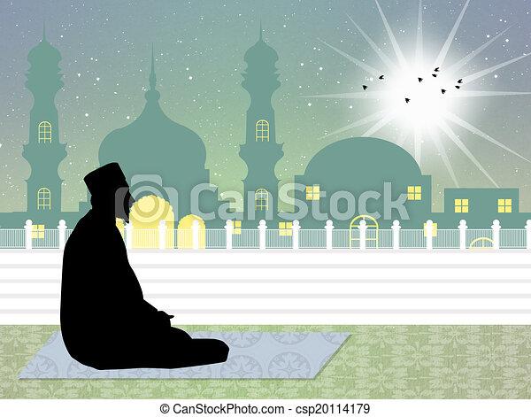 Muslim man praying - csp20114179