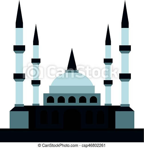 muslim mosque icon isolated muslim mosque icon flat clip art rh canstockphoto com mosque clipart easy mosque clipart images