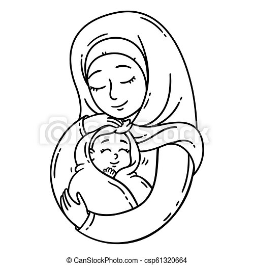 Muslim Mother Holding Baby The Best Mom A Pretty Mother Holds Cute Baby Vector Black And White Illustration Isolated On